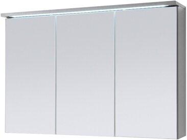 3-trg. Spiegelschrank in Titan Dekor und Weiß mit integrierter LED-Beleuchtung, Maße: B/H/T ca. 100/68/22,5 cm