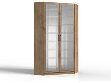 Eckschrank 2-türig in Plankeneiche-Nachbildung mit Spiegel, 2 Kleiderstangen und 8 Einlegeböden, Maße: B/H/T ca. 95/198/95 cm