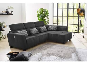 Sofa, Ecksofa in schwarzem Chenillebezug, Nosagunterfederung u. Kaltschaumpolsterung, 4 Kissen, motorische Relax-Funktion, Schenkelmaß: 298 x 200 cm