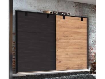 Schwebetürenschrank, 2-trg. in Plankeneiche-Nachbildung mit Absetzungen in Stahl-Optik, Metall-Applikationen, Maße: B/H/T ca. 250/218/65 cm