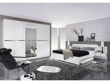 4-tlg. Schlafzimmer in alpinweiß, Bettanlage mit 2 Nachttischen B: 293 cm, Schrank mit Spiegeltüren B: 271 cm