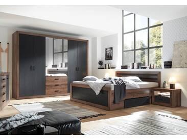 Schlafzimmer in Schlamm- und Schwarzeich-NB, bestehend aus Drehtürenschrank B: ca. 289 cm und Bettanlage inkl. 2 Nachtkonsolen B: ca. 307 cm