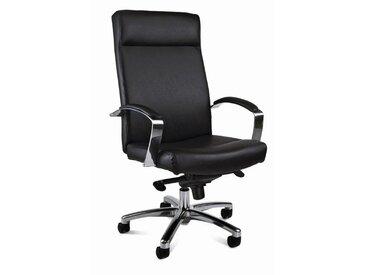 Chefsessel in Leder (Recast-Leder) schwarz inkl. aluminium Armlehen, mit extra breitem Muldensitz, mit Wippmechanik, Sitzbreite ca. 52 cm