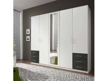 5-trg. Drehtürenschrank in Alpinweiß und graphit mit 3 Einlegeböden, 3 Kleiderstangen, 6 Schubkästen, 1 Spiegeltür, B: ca. 225cm