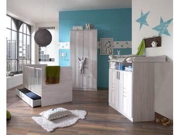 Babyzimmer in Weißeiche-Nachbildung und Icy-White, 5-tlg., Schrank (B: 90 cm), Wickelkommode (B: 91 cm) und Babybett 70 x 140 cm