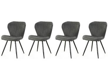 Stühle in Anthrazit, Beine schwarz gepulvert, 2er-Set, Maße: B/H/T ca. 54/86/64 cm