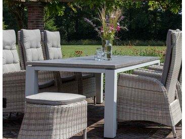 Gartentisch mit einem hellgrauem Gestell aus Aluminium u. einer Cherry-Board Tischplatte, kratzfest u. grau strukturiert, Maße: B/H/T ca. 240/74/100cm