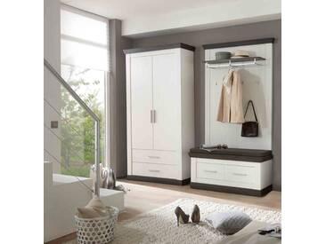 Garderobe in Pinie weiß NB mit App. in Wenge Haptik Nachbildung, Griffe aus Metall, inkl. Sitzkissen, Gesamtmaße: B/H/T ca. 224(214)/201/38-45 cm