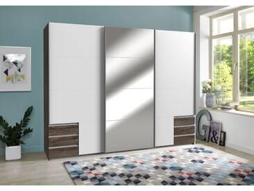 Schwebetürenschrank 3-trg. in Schlammeiche NB und weiß mit 5 Einlegeböden, 3 Kleiderstangen, 6 Schubladen und 1 Spiegel, Maße: B/H/T ca. 270/208/64 cm
