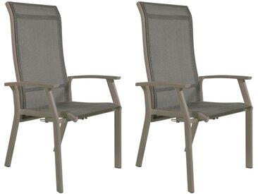 Gartenstühle mit Textylenbezug in beige und einem Gestell aus Aluminium in beige, Rückenlehne verstellbar, 2er-Set, Maße: B/H/T ca. 58,5/112,5/65 cm