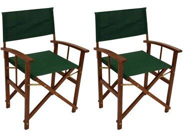 Regiestühle aus geöltem Eukalyptusholz mit dunkelgrüner Stoffbespannung, 2er-Set, klappbar, Maße: B/H/T ca. je 56/85/50 cm