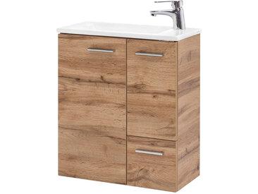 Waschtisch in Eiche Nachbildung mit 2 Türen und 1 Schublade, inkl. Keramikbecken, Maße: B/H/T ca. 50/60/25 cm