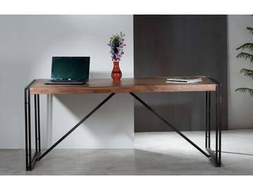 Tisch massiv in Shesham natur (indisches Rosenholz) mit Gebrauchsspuren, Gestell aus schwarzem Altmetall Maße: B/H/T ca. 180/76/90 cm