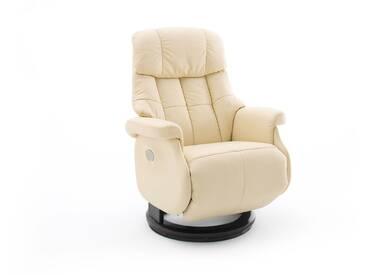 Relaxsessel-Komfort mit elektrischer Bedienung, in Echtleder creme, Gestell schwarz, Maße: B/H/T ca. 82/84-111/86-162 cm