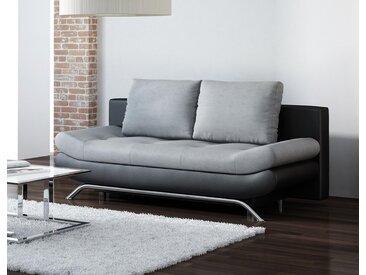 Schlafsofa in schwarzem Kunstleder mit Absetzungen in grauem Webstoff, Schlaffunktion, Bettkasten, Maße: B/H/T ca. 196/96/91 cm