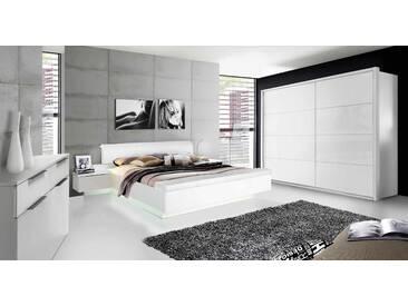 Schlafzimmer Hochglanz weiß, Schwebetürenschrank B: 220 cm, Bettanlage inkl. Beleuchtung mit Polsterkopfteil, 2 Nachtschränke und Fußbank 180 x 200 cm