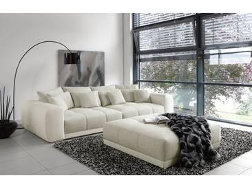 Schon Big Sofa In Weiß/grau Mit Steppungen Im Sitzelement, 4 Große Rückenkissen, 4
