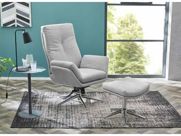 Relax Sessel in hellgrauem Webstoff inkl. Hocker, Fernsehsessel, drehbar, Sessel Maße: B/H/T ca. 72/103/82 cm