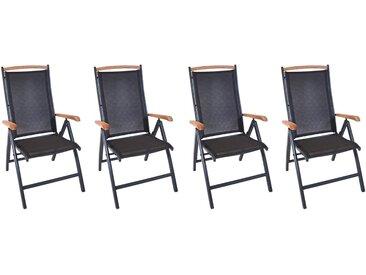 Gartenstühle aus Aluminium mit Textylenbezug und Absetzungen in Teakholz, klappbar und Rückenlehne verstellbar, 4er-Set, Maße: B/H/T ca. 60/108/74 cm