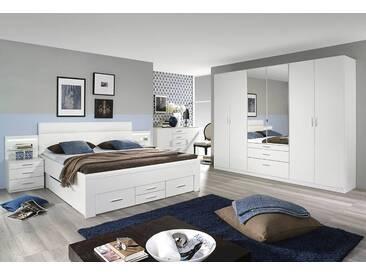 4-tlg. Schlafzimmer in alpinweiß, Abs. Kunstleder weiß, Drehtürenschrank B: 271 cm, Bettanlage inkl. 2 bel. Nachttischen B: 285 cm, 180x200 cm