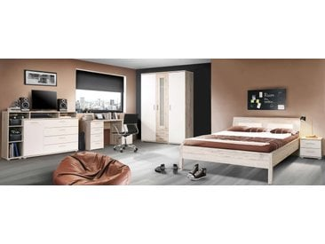 3-teiliges Jugendzimmer in Sandeiche-Nachbildung und Weiß mit Kleiderschrank (B: ca. 139,5 cm), Bett (B: ca. 140 cm) und Schreibtisch (B: ca. 145 cm)