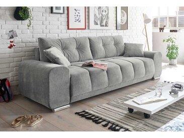 Schlafsofa in grauem Microvelourstoff mit 4 Kissen, Schlaffunktion und Bettkasten, Maße: B/H/T ca. 260/95/90 cm