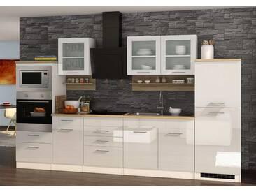 Küchenblock, weiß Hochglanz, Stellmaß: ca. 330 cm, Details lt. Artikelbeschreibung