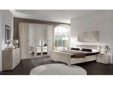 4-tlg. Komfortschlafzimmer in Eiche sägerau-Nachbildung, Kleiderschrank B: 225 cm, Kompaktbett Liegefläche 180 x 200 cm, Nachtschränke B: 104 cm