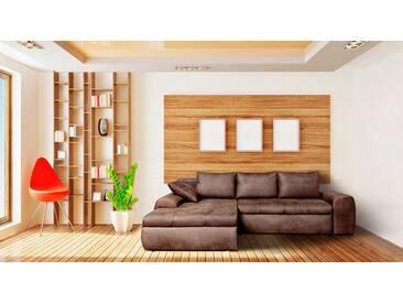 Sofa, Wohnlandschaft, Mikrofaser Vintage-Look braun, 3 Rückenkissen, 1 Seitenkissen, Schlaffunktion,  Bettkasten, Schenkelmaß: ca. 260 x 184 cm