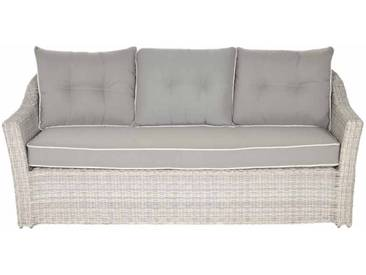 Premium-Loungebank aus creme-grauen Polyrattangeflecht mit 3 Rückenkissen u. 1 Sitzkissen in grau mit weißen Nähten, Maße: B/H/T ca. 188/79/86 cm