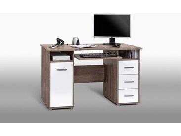 PC-Arbeitsplatz in Eiche Trüffel sägerau-NB mit Fronten in Hochglanz weiß mit Tastaturauszug und Ablageflächen, Maße: B/H/T ca. 120/75/67 cm