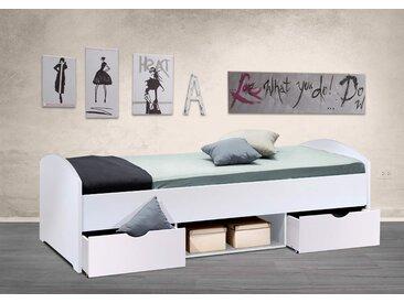 Kojenbett in Weiß, 2 Schubladen, 1 Fach, Maße: B/H/T ca. 96/47-66/204 cm, Liegefläche: 90 x 200 cm