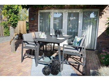 Gartenmöbel-Set aus Aluminium in anthrazit, matt, 4 Barstühle mit Kissen in grau und 1 Bartisch 180 x 94 cm