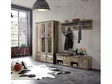 3-tlg. Garderoben-Set in Driftwood-Nachbildung, Garderobenschrank, Garderoben-Paneel und Bank mit Sitzkissen, Gesamtmaß: ca. 255/189/40 cm