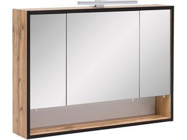 Spiegelschrank 3-trg. in Eiche-Nachbildung mit 3 Glas-Einlegeböden und 1 offenes Fach, inkl. LED-Aufbauleuchte, Maße: B/H/T ca. 80/65,6/16 cm