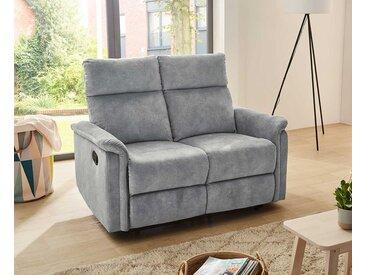2er Sofa in Velour vintage hellgrau bezogen mit Liegefunktion, Maße: B/H/T ca. 130/100/90 cm