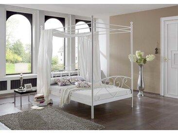 Himmelbett in Weiß, aufwendige Schmiedeoptik, inkl. Federkern-Matratze und Roll-Lattenrahmen, Liegefläche ca. 120 x 200 cm