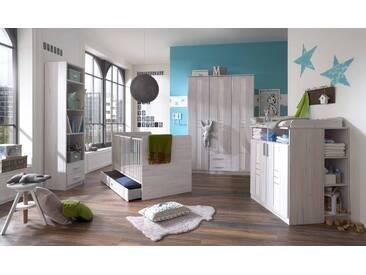 Babyzimmer, 4-tlg., in Weißeiche-Nachbildung und Icy-White, Kleiderschrank (B: 135 cm), Wickelkommode (B: 91 cm) und Babybett 70 x 140 cm