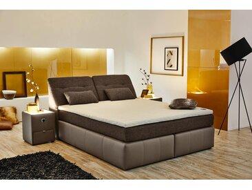 Boxspringbett mit Stauraum im Kopfteil in grau-braun, 2 Tonnentaschen Federkernmatratzen Tandembezug, Topper, Kissen Maße: 180 x 200 cm