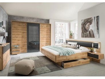 Schlafzimmer 2-tlg. in Plankeneiche-NB mit Abs. in graphit, bestehend aus Schwebetürenschrank B: 270 cm und Bett 180x200 cm inkl. Nachtschränke