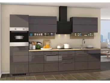 Küchenblock, grau Hochglanz, Stellmaß: ca. 320 cm, Details lt. Artikelbeschreibung
