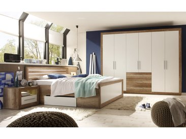4-tlg. Schlafzimmer in Monument Eiche-Nachbildung mit Absetzungen in weiß, Bettanlage mit 2 Nachtkonsolen inkl. LED, Kleiderschrank
