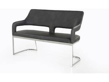 Sitzbank in Vintage-grau bezogen und einem chromfarbigen Gestell, mit Schaumpolsterung, Maße: B/H/T ca. 140/92/57 cm
