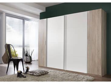 Dreh-/Schwebetürenschrank Eiche sägerau Nb./alpinweiß, 2 Drehtüren, 2 Schwebetüren, 10 Einlegeböden, 2 Kleiderstangen, Maße: B/H/T ca. 270/210/65 cm