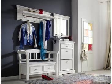 Garderobe-Set aus massiven, recyceltem Kiefernholz weiß/white sanded, Gesamtmaß: B/H/T ca. 190/200/40 cm