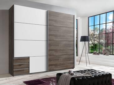 Schwebetürenschrank 2-trg. in Schlammeiche NB und weiß mit 3 Einlegeböden, 2 Kleiderstangen und 3 Schubladen, Maße: B/H/T ca. 225/208/64 cm