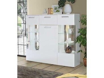 Highboard in Weiß matt kombiniert mit Weiß Hochglanz und Picea Kiefer-Dekor, 2 Glastüren, 1 Tür, 1 Schubkasten, LED-Beleuchtung