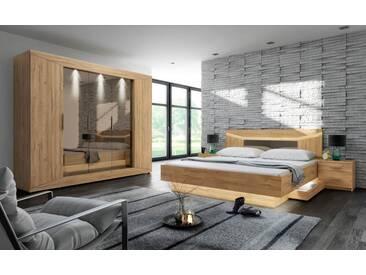 Schlafzimmer 4-tlg. in Grandson Oak Nachbildung, Drehtürenschrank B: ca. 253 cm, Bett B: ca. 186 cm, Nachttisch B: ca. 48 cm