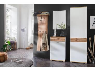 Garderobe in weiß mit Absetzungen in Wotan Eiche-Nb. Tiefzieh., Paneel, Spiegel, Kommode, Schrank, Gesamtmaß: B/H/T ca. 205/205/40 cm