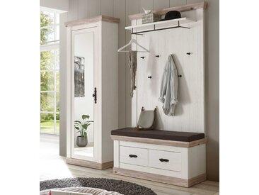 Garderoben-Set 3-tlg. in Pinie weiß-Dekor/Oslo Pinie-Dekor, Spiegelschrank, Paneel, Bank und Sitzkissten